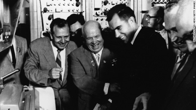 Vice President Nixon, right, and Soviet Premier Nikita Khrushchev, center, share a laugh during Nixon's visit to the Soviet Union in 1959. The two leaders engaged in an informal debate about the merits of capitalism versus communism at the opening of the American National Exhibition in Moscow.