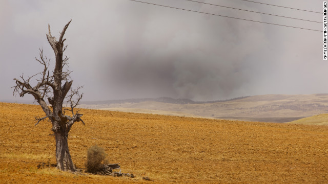 Smoke rises from a wildfire in Nimmitabel, a town in New South Wales, on Tuesday, January 8.
