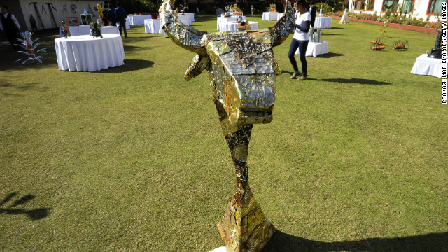 Artist Nara Bahadur BK hammered tin cans to create this yak's head. BK says he picked the animal for his artwork because of its usefulness to trekkers. 