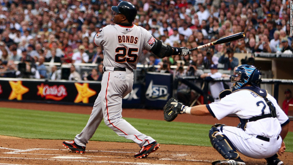 Barry Bonds of the San Francisco Giants hits his 755th career home run against the San Diego Padres on August 4, 2007, in San Diego. The all-time home run champ was among the 37 eligible players denied entry into the sport's Hall of Fame on Wednesday, January 9. It's only the eighth time no player received enough votes.
