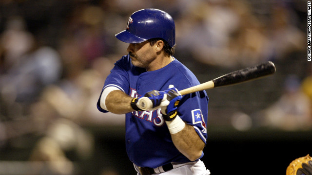 First baseman Rafael Palmeiro of the Texas Rangers swings at a Kansas City Royals pitch in 2003. He was on he Hall of Fame ballot for the third time in 2013.