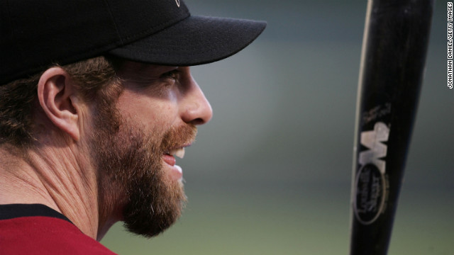 Jeff Bagwell of the Houston Astros lines up for batting practice during a workout ahead of the 2005 World Series in Chicago.