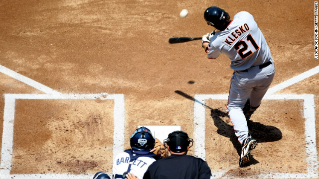 Ryan Klesko of the San Francisco Giants makes contact with the ball against the San Diego Padres on August 5, 2007, in San Diego.