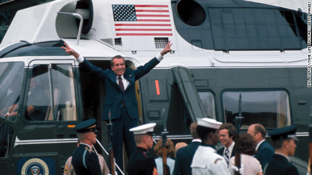 Nixon leaves the White House after his resignation over the Watergate scandal in 1974.