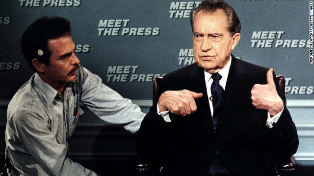 Former President Nixon is wired for a microphone on April 9, 1988, before the taping of the NBC television show &quot;Meet the Press.&quot; It was his first appearance on the show since 1968.