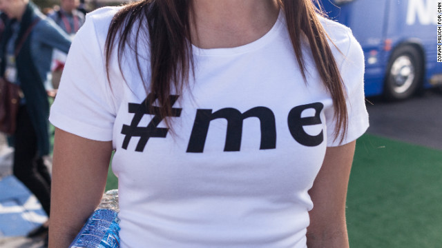 A woman wears a hashtag T-shirt on the second day of the Consumers Electronic Show in Las Vegas, Nevada, on Wednesday, January 9.