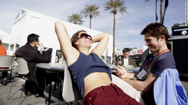 Visitors enjoy the Las Vegas sun Wednesday.