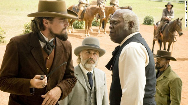 """Django Unchained's"" Christoph Waltz, center, was nominated for best actor in a supporting role. His costars, however, were not. The oft-snubbed Leonardo DiCaprio, left, and Samuel L. Jackson, right, didn't receive nods despite garnering critical acclaim as a plantation owner and his loyal slave."