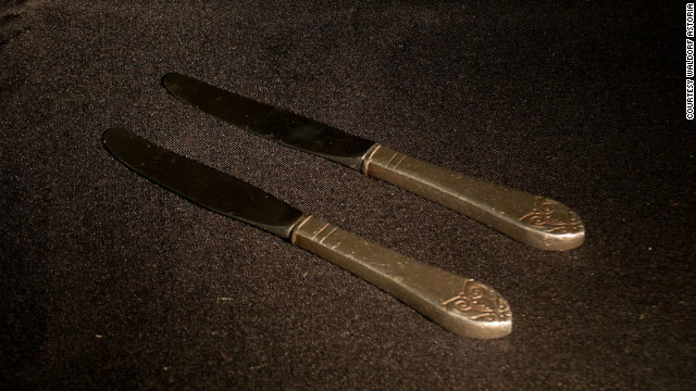 A pair of silver knives believed to have been pilfered by the same guest at two separate Waldorf events in the 1950's, before being returned by relatives via the amnesty program.