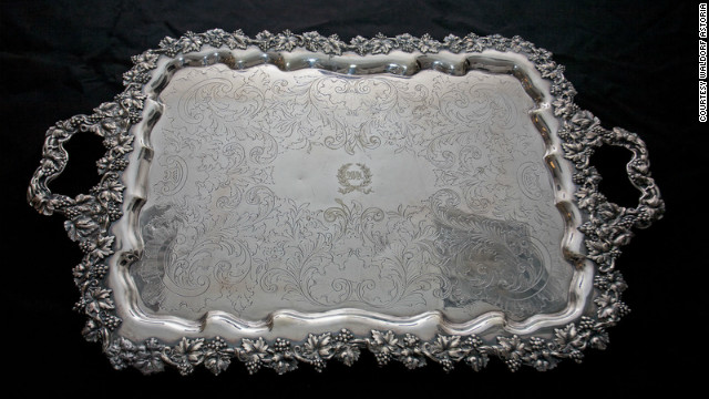 One of the only items in the entire display that was purchased legitimately. This silver plate tray was snapped up by a wealthy New York banker in the 1940's when the original Waldorf closed down. His family returned it for the amnesty exhibition.