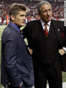 Atlanta Falcons general manager Thomas Dimitroff, left, and owner and CEO Arthur Blank.