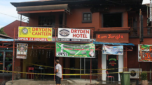 A fire broke out killing six, including three US and one South Korean citizen in Olongapo City, north of Manila on January 11, 2013.