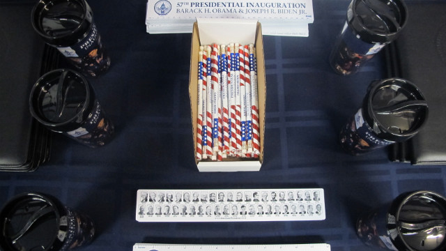 Among some of the everyday items emblazoned with the Inaugural seal are a pencil set for $3, a travel travel mug for $15, and a ruler for $2.50.