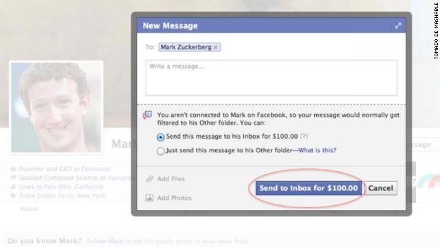 ¿Pagarías 100 dólares por mandarle un mensaje a Mark Zuckerberg en Facebook?