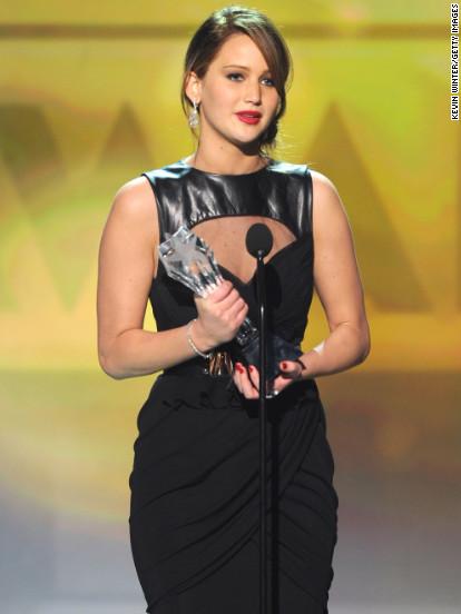 Jennifer Lawrence accepts an award at the Critics' Choice Movie Awards in Santa Monica, California.