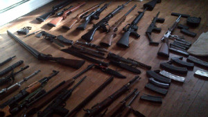 Police seized the pictured weapons, allegedly belonging to Aaron Greene, from the home of a friend of Greene\'s.