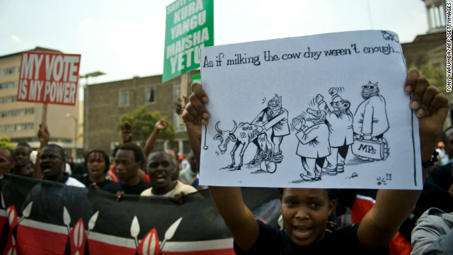 Demonstrators protest outside parliament in Nairobi on October 9, 2012 after lawmakers voted themselves a $110,000 bonus.