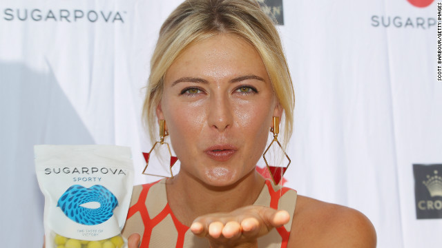 "Russia's world No. 2 blows a kiss during the launch of her new candy brand ""Sugarpova"" in Melbourne on January 11."