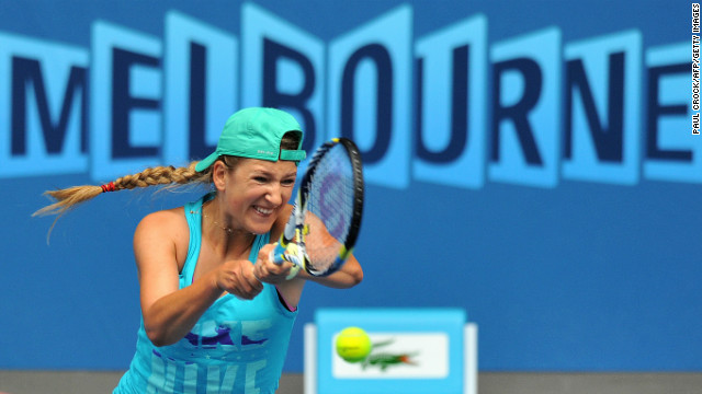 Australian Open champion and world No. 1 Victoria Azarenka of Belarus was also practicing ahead of the season's opening grand slam.