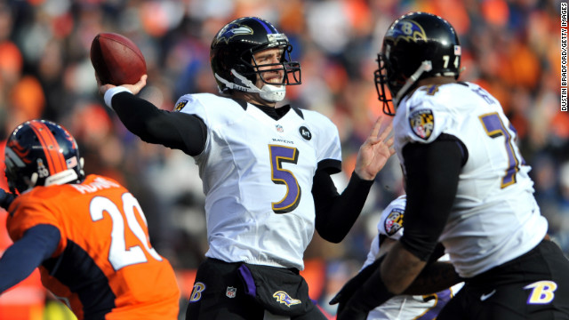 Baltimore quarterback Joe Flacco throws a pass in the first quarter.