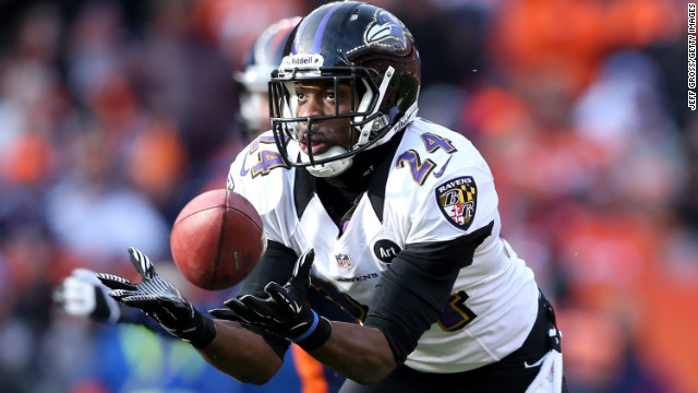 Baltimore cornerback Corey Graham intercepts a pass on his way to a 39-yard touchdown in the first quarter.