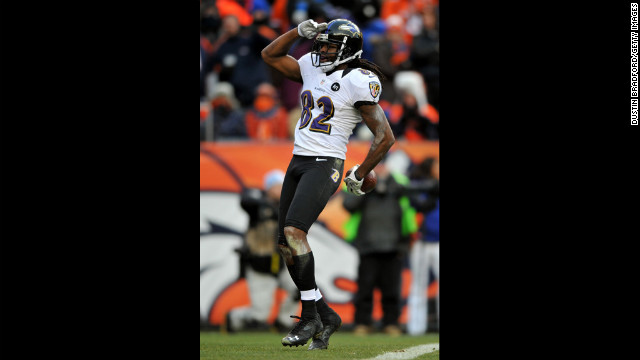 Torrey Smith celebrates after a touchdown.