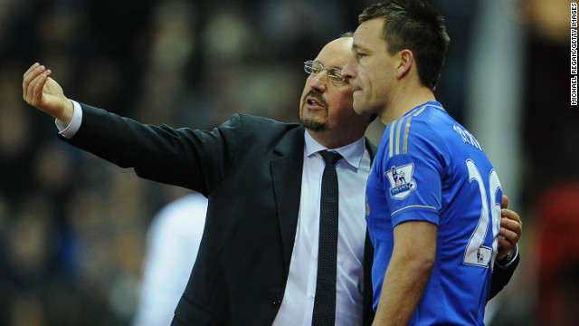 Terry, seen here with Chelsea manager Rafael Benitez, made his return after two months on the sidelines with a knee injury.