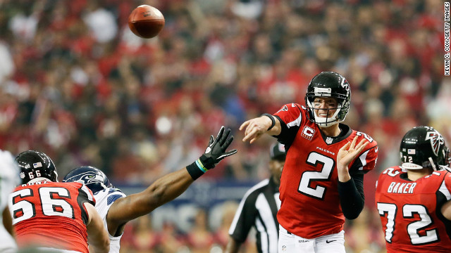 Quarterback Matt Ryan of the Falcons throws a pass against the Seahawks on Sunday.