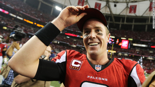 Matt Ryan of the Falcons celebrates their win over the Seahawks on Sunday.