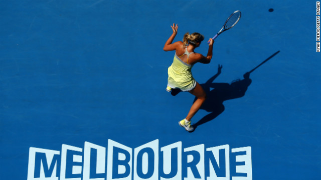 Maria Sharapova of Russia plays a forehand in her first-round match against Olga Puchkova of Russia on January 14. Sharapova won 6-0 6-0 in less than an hour.