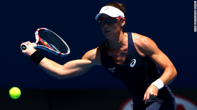 Samantha Stosur of Australia plays a forehand in her first-round match against Kai-Chen Chang of Taiwan on January 14. 