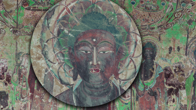 A magnifying glass allows you to explore the virtual environment, which depicts seven figures known as medicine Buddhas.