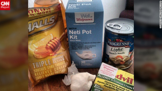 Christen Lassiter from Miami says says she couldn't keep any food down when she had the flu, so she started taking the items that are in her flu survival kit, such as chicken soup and tea with garlic.