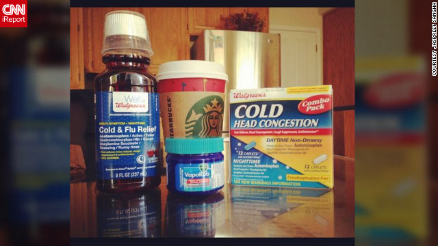 """I'm regretting not getting the flu shot this year,"" said Jaspreet Sangha from San Jose, California. She says she is holding strong with her flu survival kit, which is comprised of cough syrup, vapor rub, vitamin C, Starbucks coffee, Asian ginger tea and a variety of medications."