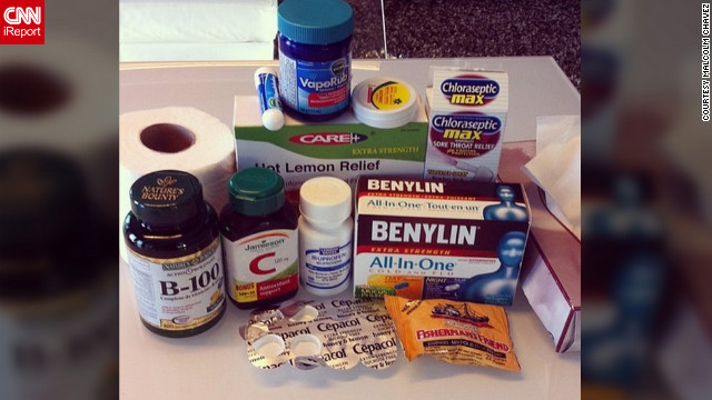 Registered nurse <a href='http://ireport.cnn.com/docs/DOC-909178'>Malcolm Chavez</a> from Saskatchewan, Canada, is trying to recover from the flu. He is taking cold and flu medications, cough suppressants, vitamins B and C, and hot lemon drink from his flu survival kit. He also advocates gargling twice a day with lukewarm salt water.