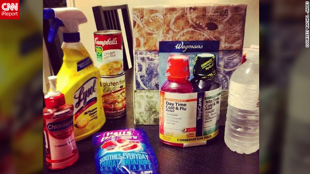 <a href='http://ireport.cnn.com/docs/DOC-909180'>Rachel James</a>, a nurse in Bethlehem, Philadelphia, says she not only has the flu, but a terribly painful sore throat as well. Her flu survival kit is made up of variety of medications, disinfectants, water and soups, and she says frozen Slurpees are soothing her throat.