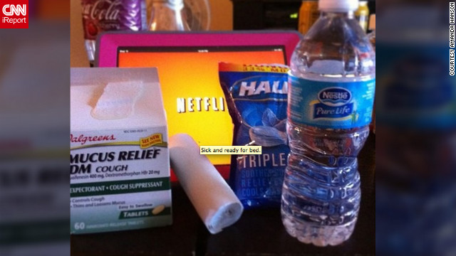 Las Vegas junior high teacher Amanda Hanson is out with the flu. She says water, medicine and long hours of watching movies on Netflix are helping her recover.