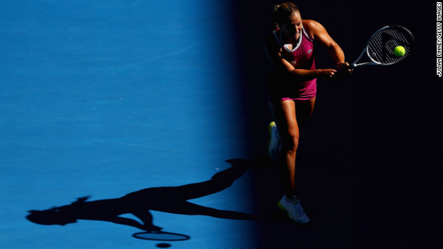 Dominika Cibulkova of Slovakia plays a backhand in her first-round match against Ashleigh Barty of Australia during the 2013 Australian Open on Monday, January 14. Cibulkova won 3-6 6-0 6-1.