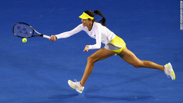 Serbia's Ana Ivanovic plays a forehand during her first-round match on January 14 against Hungary's Melinda Czink. Ivanovic won 6-2 6-1.