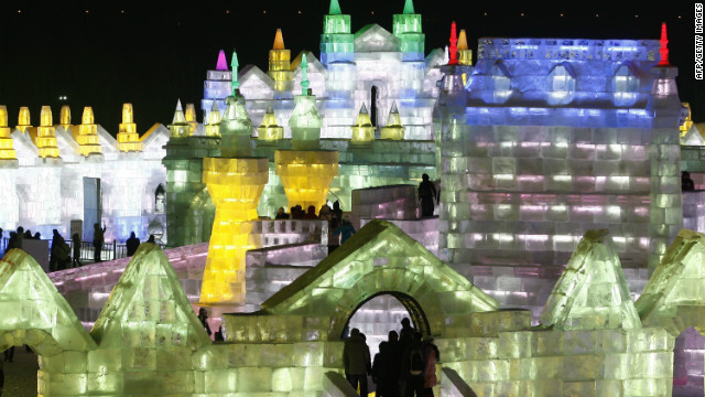 People visited &quot;Ice and Snow World&quot; during the opening ceremony of the 2013 Harbin International Ice and Snow Festival in China in early January. This year's &quot;Ice and Snow World&quot; features ice castles and fairytale sculptures with LED lights.