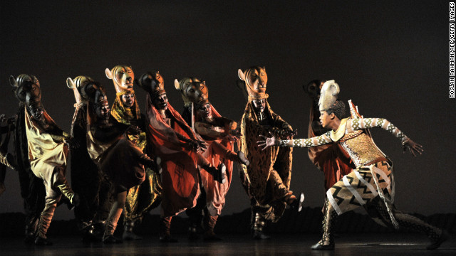 South African Puleng March (right) as Nyala, during a &quot;Lion King&quot; performance in Singapore on March 9, 2011. 