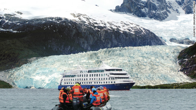 Exploring the deepest south of South America is made more comfortable by cruise operator Cruceros Australis. Passengers explore the chilly scenery and wildlife in small boats, returning to the main ship at day's end to warm up, eat and relax.