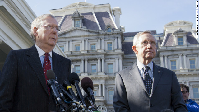 Senate Minority Leader Mitch McConnell, left, with Senate Majority Leader Harry Reid at the White House after a 2012 meeting.