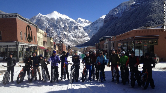 "Telluride outfitter <a href='http://www.bootdoctors.com' target='_blank'>BootDoctors</a> offers tours on ""fat bikes."" Guided Big Tire Bike and Brew trips, which end with a tour and tasting at Telluride Brewing Company, are $99 for a half-day, $149 for a full day."