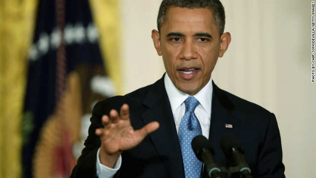 President Obama speaks at Monday's news conference, where he warned against playing politics with the debt ceiling.