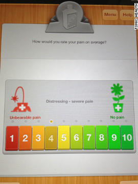 The app lets patients rate their pain on a scale of happy green to angry red.