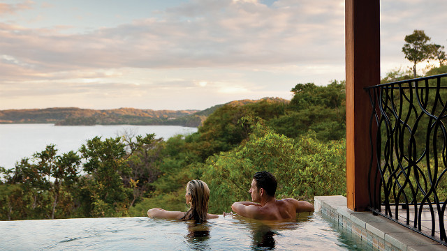 Enjoy the view over the Papagayo Peninsula from your private pool at the Four Seasons.