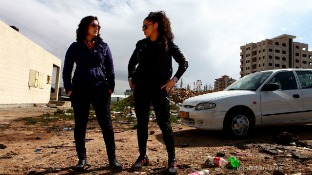 Marah Zahalka (left) and Noor Daoud, the two youngest Speed Sisters, both in their early 20s, are close friends and fierce competitors.