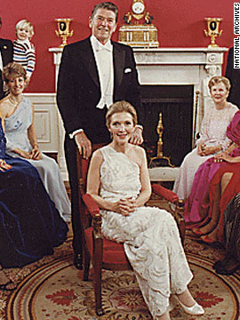 President Ronald Reagan poses with wife Nancy for an inaugural family photo in 1981.