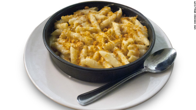 Uno Chicago Grill's deep dish macaroni and three cheese has 1,980 calories, 71 grams of saturated fat and 3,110 milligrams of sodium. CSPI compares it to eating a family-size container of Stouffer's macaroni and cheese with half a stick of melted butter on top.